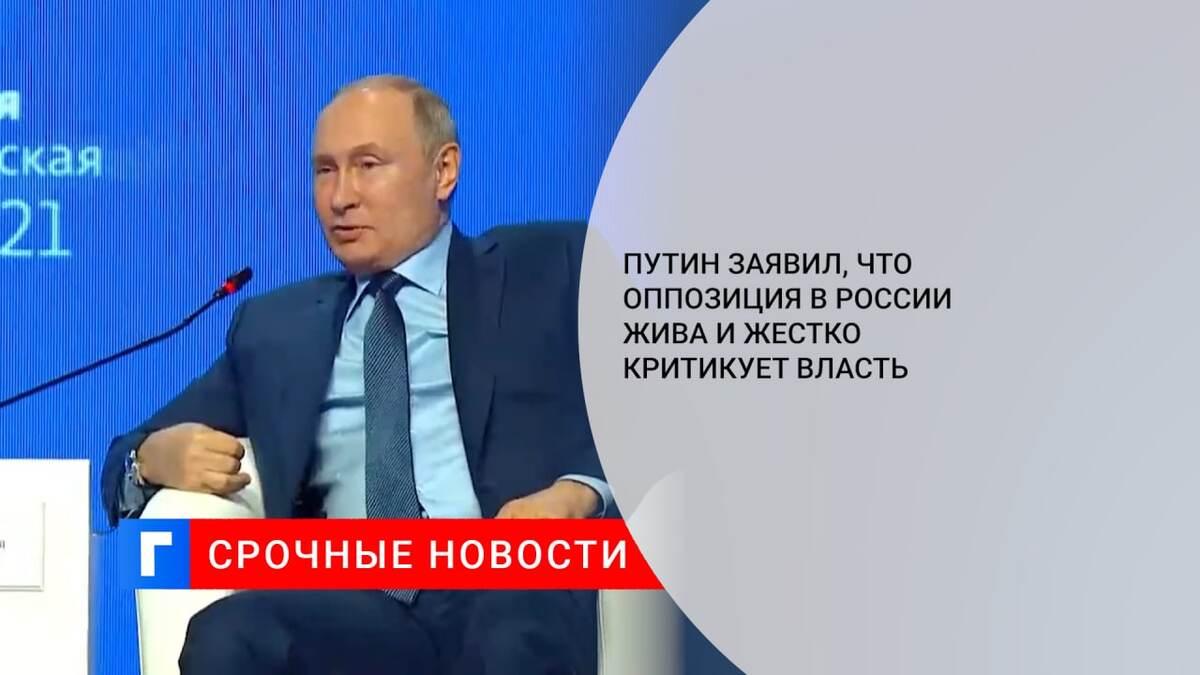 Путин заявил, что оппозиция в России жива и жестко критикует власть