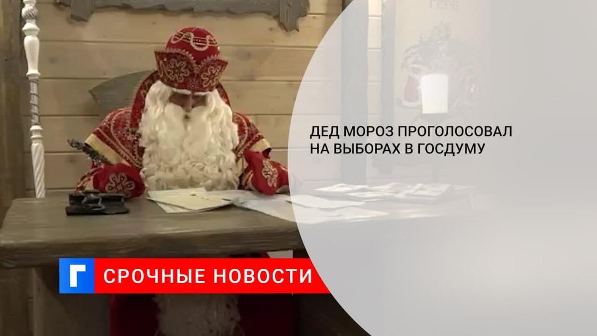 Дед Мороз проголосовал на выборах в Госдуму в резиденции в Великом Устюге
