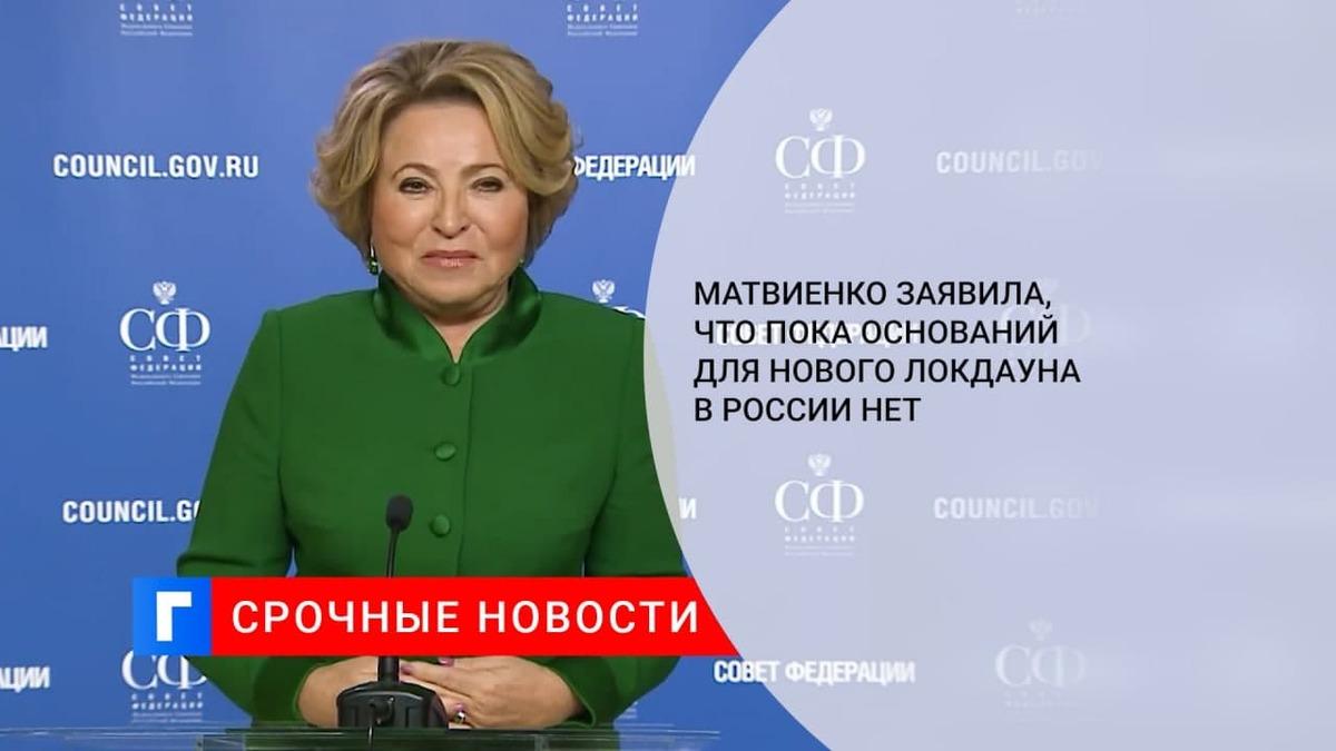 Матвиенко: оснований для введения локдауна или других жестких мер в России пока нет