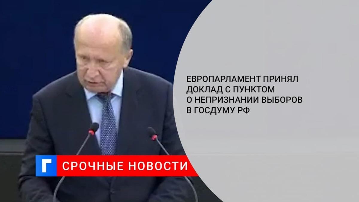 Европарламент принял доклад с пунктом о непризнании выборов в Госдуму