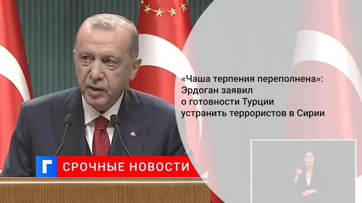 «Чаша терпения переполнена»: Эрдоган заявил о готовности Турции устранить террористов в Сирии