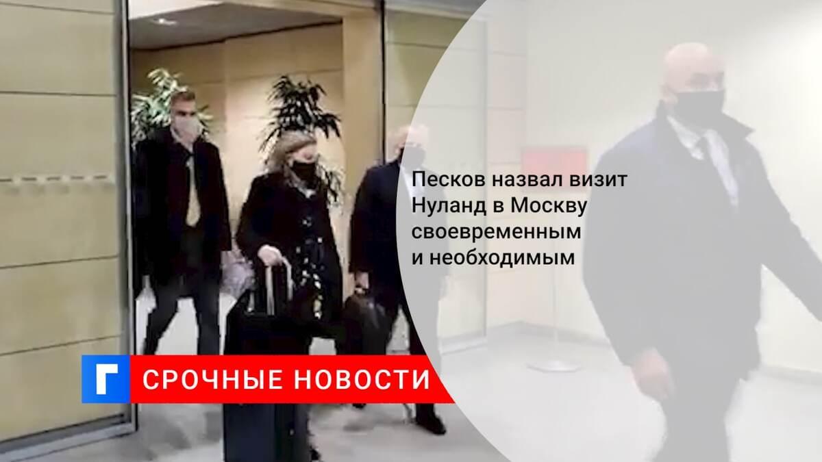 Песков назвал визит Нуланд в Москву своевременным и необходимым