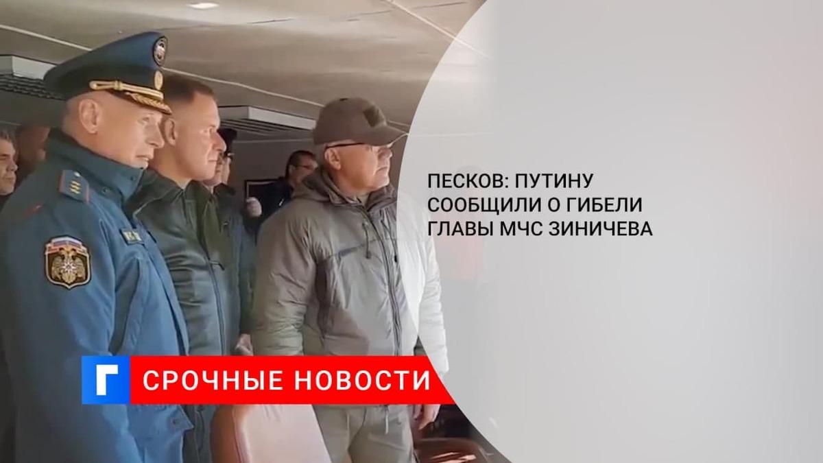 Песков: Путину доложено о гибели главы МЧС Зиничева на учениях