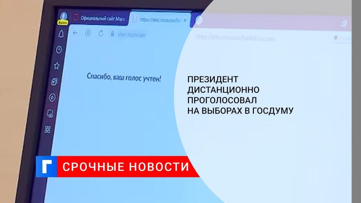 Президент России Путин проголосовал онлайн на выборах в Госдуму