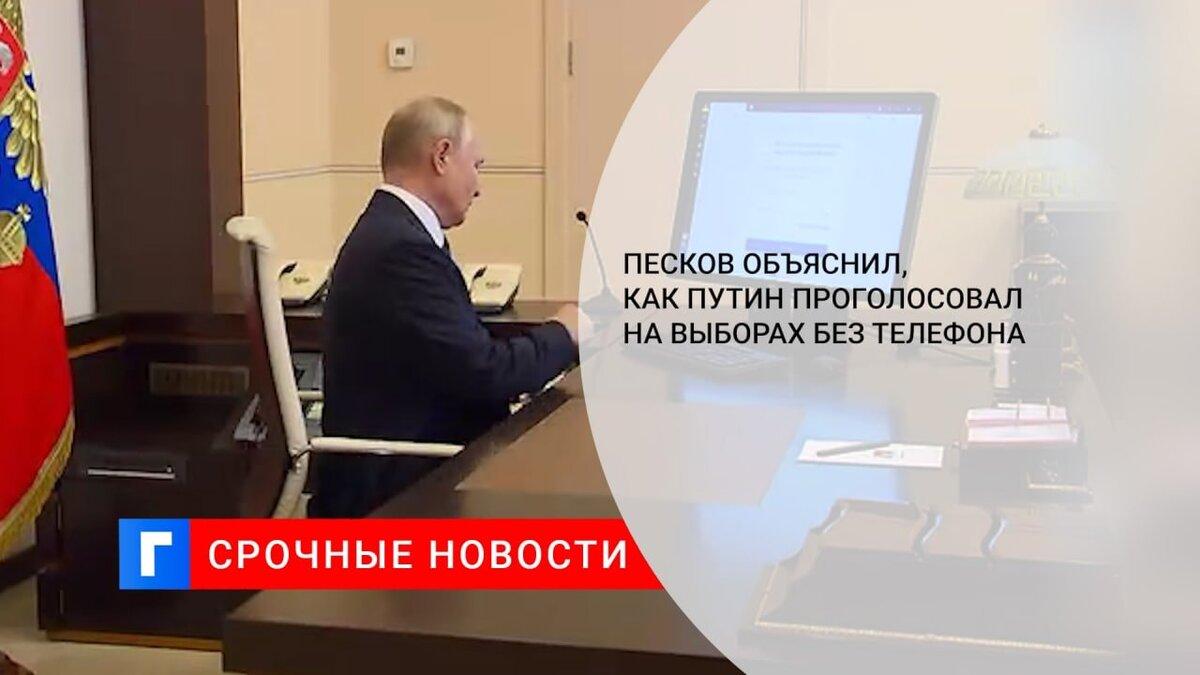Песков объяснил, как Путин проголосовал на выборах без телефона