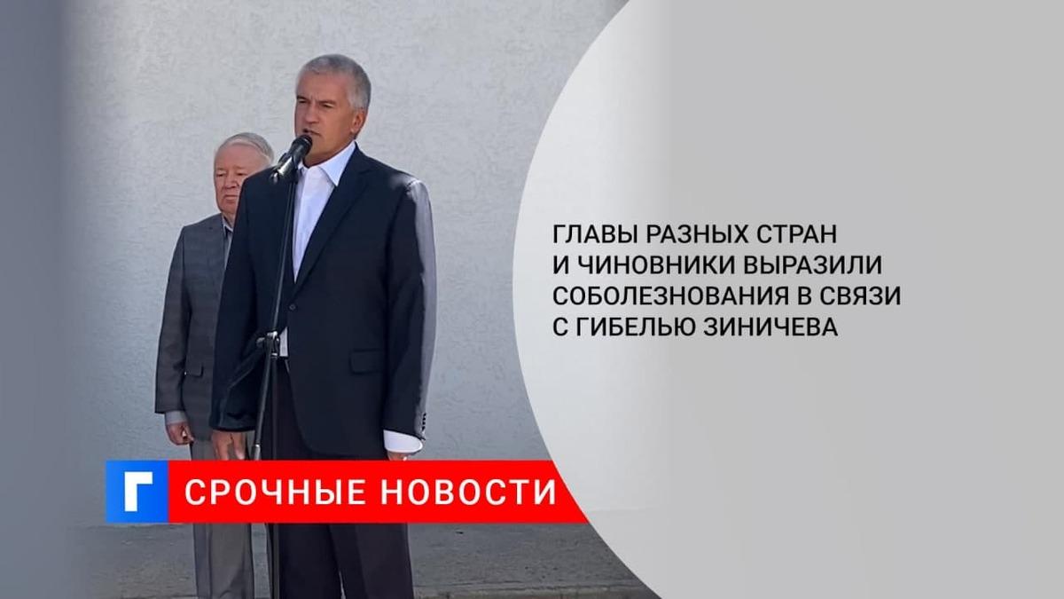 Главы разных стран и чиновники выразили соболезнования в связи с гибелью Зиничева