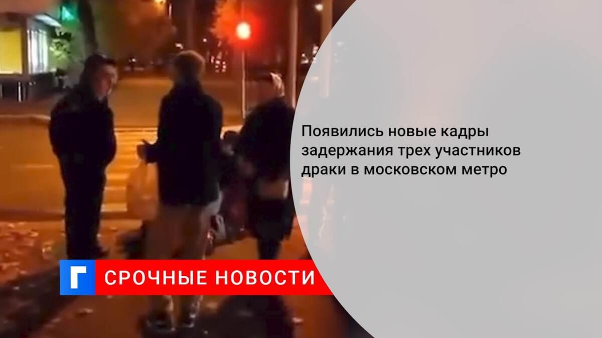 Появились новые кадры задержания трех участников драки в московском метро